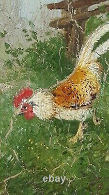 Ancien Tableau Poules et Coqs Peinture Huile Antique Oil Painting Ölgemälde