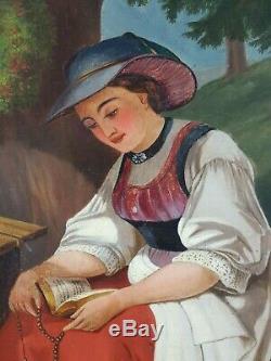 Ancien Tableau Prière du Rosaire Peinture Huile Antique Oil Painting Dipinto