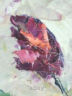 Ancien Tableau Roses Rouges Peinture Huile Antique Oil Painting Dipinto