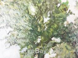 Ancien Tableau Route d'Arbres Peinture Huile Antique Oil Painting