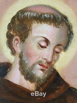 Ancien Tableau Saint François d'Assise Peinture Huile Antique Oil Painting