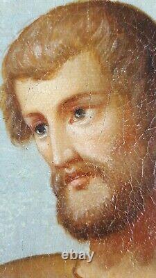 Ancien Tableau Saint Jean Baptiste Peinture Huile Antique Oil Painting Dipinto