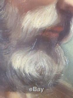 Ancien Tableau Saint Joseph Peinture Huile Panneau Antique Oil Painting