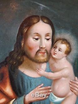 Ancien Tableau Saint Joseph et l'Enfant Jésus Peinture Huile Oil Painting