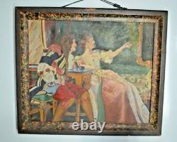 Ancien Tableau Scene De Galant Portrait Homme Femme Signe Toile Huile Peinture