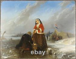 Ancien Tableau Scène Hivernale Peinture Huile Antique Painting Altes Ölgemälde