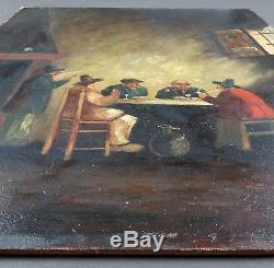Ancien Tableau Scène d'Intérieur Peinture Huile Antique Oil Painting Dipinto