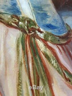 Ancien Tableau Scène de Cour Peinture Huile Antique Oil Painting Ölgemälde