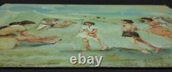 Ancien Tableau Scène de Plage Peinture Huile Antique Oil Painting Dipinto
