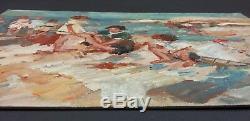 Ancien Tableau Scène de Plage Peinture Huile Toile Antique Oil Painting