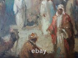 Ancien Tableau Scène de Rue Peinture Huile Antique Oil Painting Dipinto