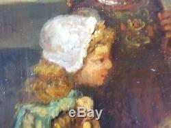 Ancien Tableau Scène de Vie à la Campagne Peinture Huile Antique Oil Painting
