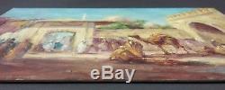 Ancien Tableau Scène de Vie en Orient Peinture Huile Panneau Oil Painting