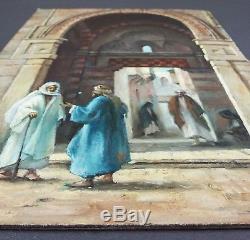 Ancien Tableau Scène en Orient Peinture Huile Antique Oil Painting