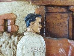Ancien Tableau Sculpté Ferme au Pays Basque Peinture Antique Painting Carved