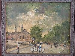 Ancien Tableau Signé Pierre STEFANI HST peinture toile Pont Notre Dame Paris