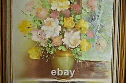 Ancien Tableau Toile Nature Morte Peinture Huile Signe Le Bouquet Et Son Reflet
