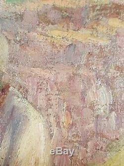 Ancien Tableau Travaux aux Champs Peinture Huile Toile Antique Oil Painting