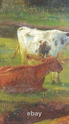 Ancien Tableau Vaches au Pâturage Peinture Huile Antique Oil Painting Gemälde