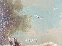 Ancien Tableau Vaches au Pré Peinture Huile Antique Old Painting Ölgemälde