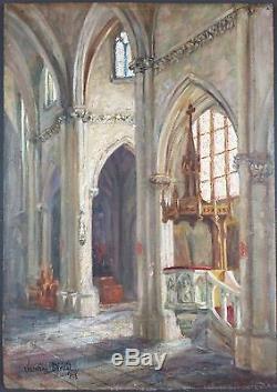 Ancien Tableau Valentine Diéval Peinture Huile Antique Oil Painting