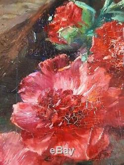 Ancien Tableau Vase de Fleurs Peinture Huile Antique Painting Altes Ölgemälde