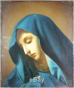 Ancien Tableau Vierge Marie en Pleurs Peinture Huile Antique Painting Dipinto