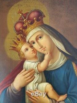 Ancien Tableau Vierge Marie et Jésus Couronnés Peinture Huile Antique Painting