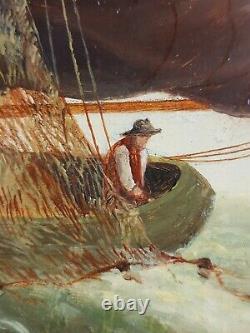 Ancien Tableau Voilier en Mer Peinture Huile Antique Old Painting Ölgemälde