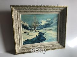 Ancien Tableau Vue de montagne signé S. M. Savoie Alpes huile peinture