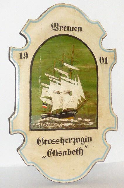 Ancien Tableau En Bois Navire De Guerre Peinture Marine Bremen 1901 Voile Elisab
