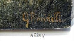 Ancien Tableau peinture HST Paysage animé troupeau bétail vaches signé