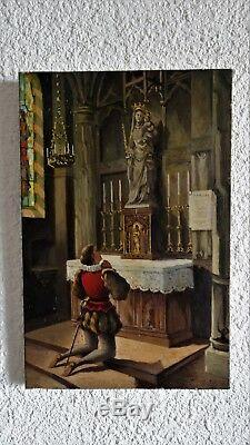 Ancien Tableau peinture HST signé Oil painting signed