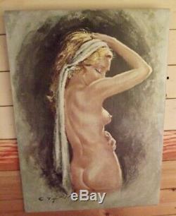 Ancien Tableau toile huile signé C. Paris Femme Nu Féminin érotisme Libertine