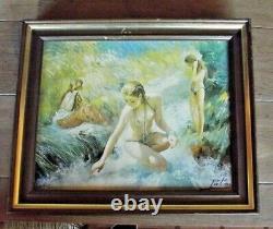 Ancien Tableau toile peinture à l'huile signée Palmes Nue femme dans le Torrent