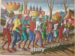 Ancien Très Grand Tableau Peinture Haïti naïve signé J. Thibaud 101 x 76