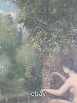 Ancien beau Tableau HST Peinture Symboliste Nu Erotique Curiosa Debut XX Eme