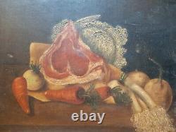 Ancien beau Tableau Peinture XIX Ème HST Nature Morte Cote de Boeuf Légumes
