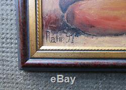 Ancien beau petit tableau nu féminin femme nue signé érotisme érotique métisse