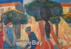 Ancien beau tableau HST paysage animé signé Roger Montané Place de Fréjus XXème