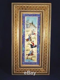 Ancien cadre tableau peinture marqueterie perse polo QAJAR KADJAR 1900 chevaux