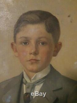 Ancien grand Tableau Peinture Sur Toile Ernest Cracco 1864 1944 172 cm / 70 cm