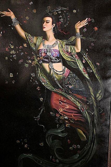 Ancien Grand Tableau Ht Femme Aux Fleurs Divinité Asie Chimère Signé Xxe