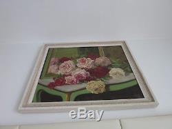 Ancien grand tableau jeté de fleurs, table et miroir, Montparnasse, années 50