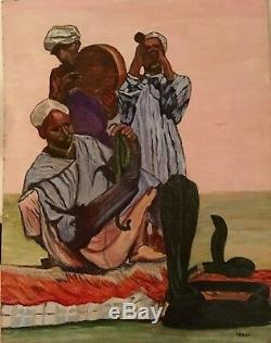 Ancien huile tableau peinture orientaliste moderniste Gaston Louis Roux