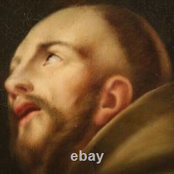 Ancien peinture Saint François tableau religieux huile sur toile 18ème siècle