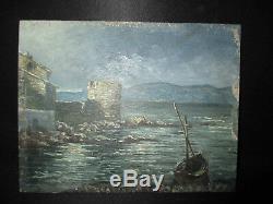 Ancien petit tableau huile sur bois vue port de Saint Tropez début milieu XX ème