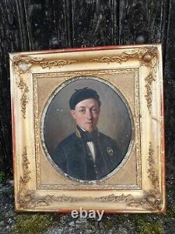 Ancien portrait encadré huile sur carton peinture tableau XIXe