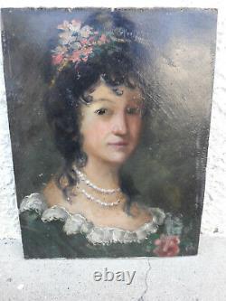 Ancien portrait femme peinture à l' huile tableau début XXe déco art nouveau