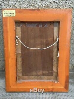 Ancien tableau COPPENOLLE huile sur panneau bois poules oil on panel